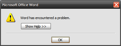 Word has encountered a problem.