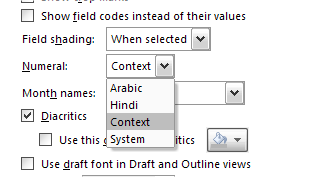 Context is Hindi when printing line numbers in Word 2007 ...